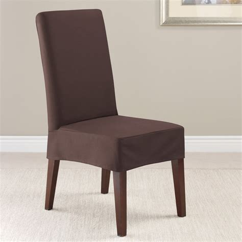 Slip Covers For Dining Chairs Interior Brown Fabric Sure Fit Dining Room Chair Slip Covers With Minimalist Skirt