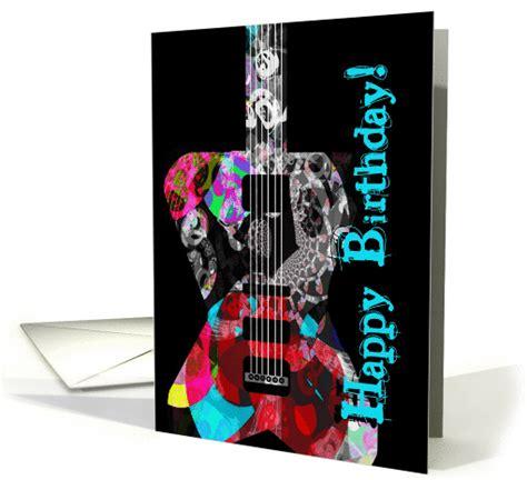 happy birthday   guitar fan  player  rock cool guitar card