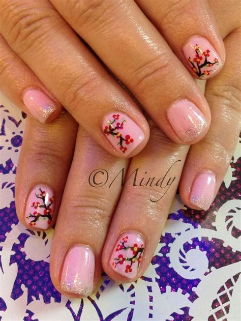 nail colour for new year new year nail pink gel with cherry