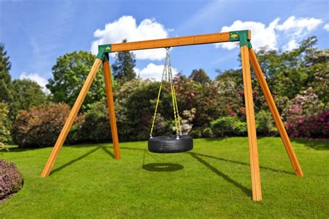 wooden swing set with tire swing classic wooden tire swing in free standing series swing sets