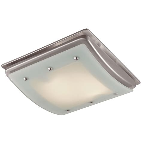 Bathroom Exhaust Fans With Light Shop Utilitech 1 5 Sone 100 Cfm Brushed Nickel Bathroom Fan With Light At Lowes