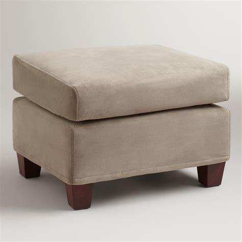 slip cover ottoman gray mink velvet luxe ottoman slipcover world market