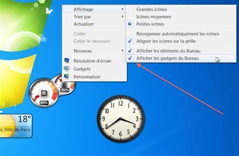 gadgets du bureau windows 7 comment masquer les gadgets