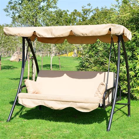 covered porch swings outsunny 80 quot covered outdoor porch swing bed with frame