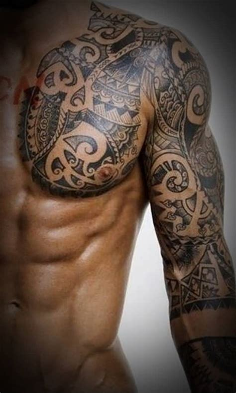 tribal tattoo arm and chest 45 tribal chest tattoos for