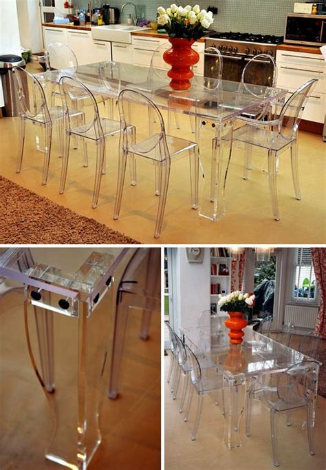 clear perspex dining table designed with removable legs