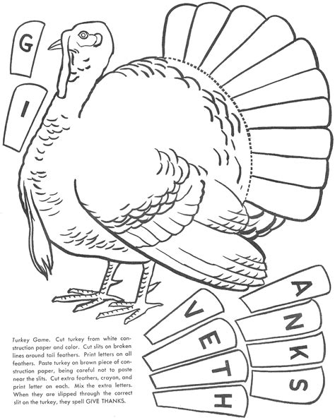 Turkey Coloring Page Cut Out | 8 best images of turkey cut out printable thanksgiving