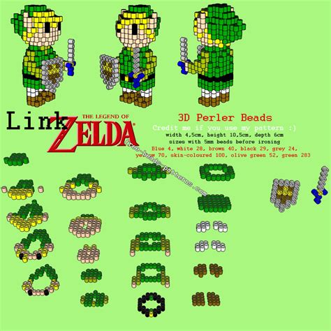 link pattern zelda 3d link from the legend of zelda free perler beads hama