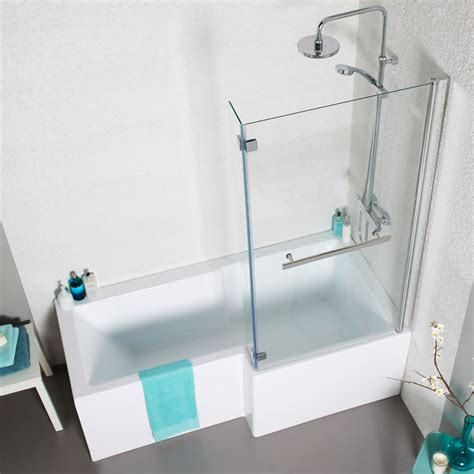 l shaped bath shower screen buy prestige eclipse l shape shower bath with panel and screen 1700mm x 850mm right handed