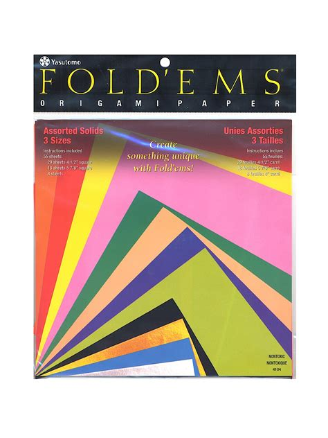 fold ems origami paper assorted solids misterart