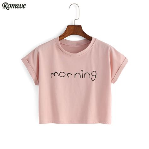 Crop Tops Fashion Letter Printed T Shirt aliexpress buy romwe womens crop tops letter print t shirts summer fashion pink