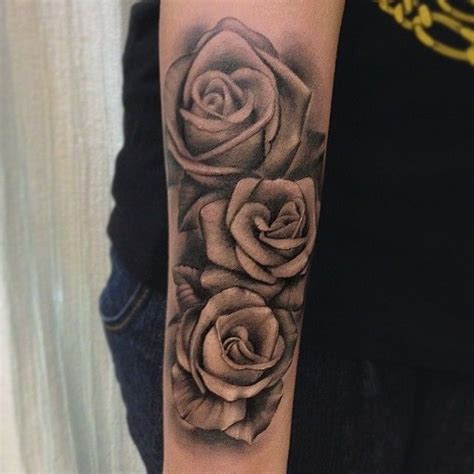 black rose tattoo arm black and grey roses sleeve by jose contreras