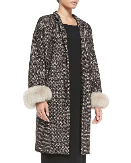 Hem Gucci Ld 102cm Free Belt marina rinaldi talia fur cuffed tweed coat s