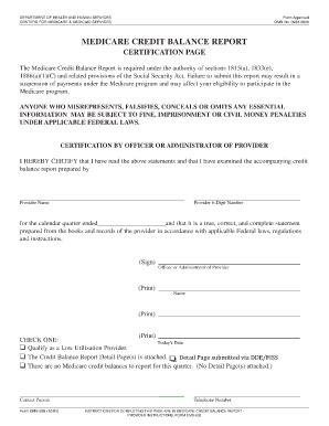 Medicare Credit Balance Form Medicare Credit Balance Fill In Form Fill Printable Fillable Blank Pdffiller