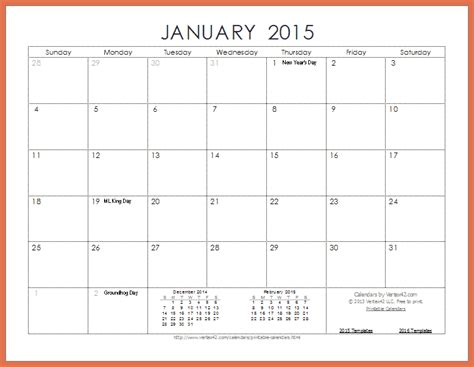 Printable Monthly Calendars Printable Monthly Calendar 2015 Bio Exle