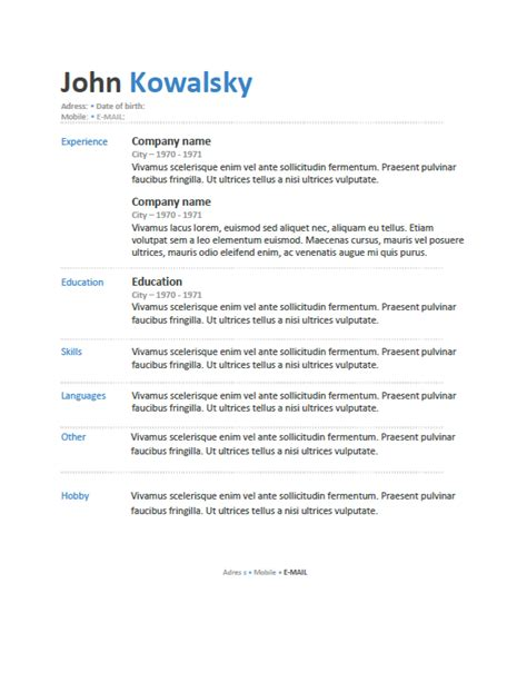 resume templated free resume templates