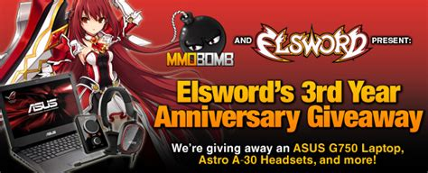 Mmobomb Giveaway - elswords 3rd year anniversary giveaway event win an asus g750 mmobomb com