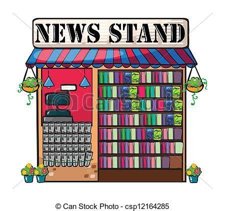 A news paper shop. Detailed illustration of newspaper shop ... A-paper Clip Art
