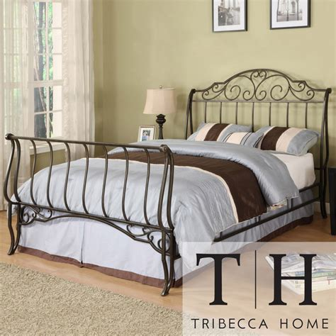 iron sleigh bed tribecca home camelia graceful scroll bronze iron full
