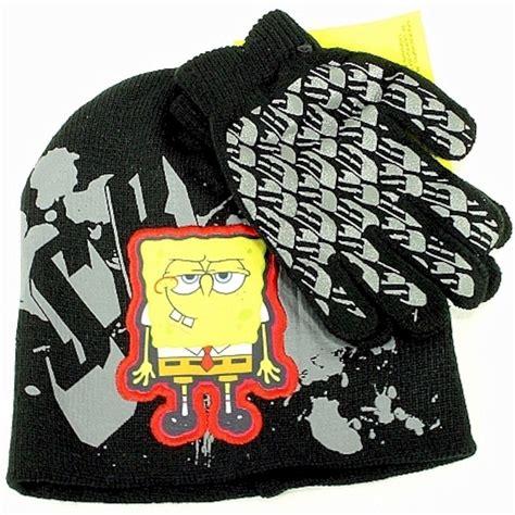 Winning Hat All Sz spongebob squarepants boy s black knit beanie hat glove