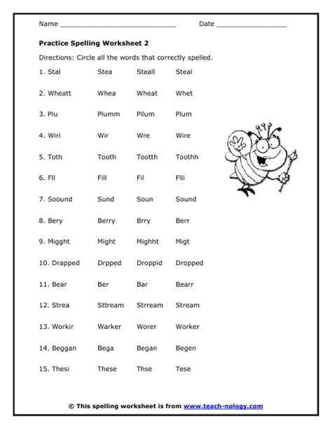 Elementary Worksheets by Elementary Practice Spelling Worksheet 2