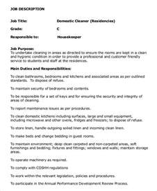 Domestic Housekeeper Sle Resume by Housekeeper Description Exle 14 Free Word Pdf Documents Free Premium