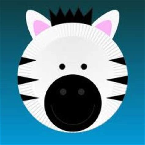 Zebra Paper Plate Craft - punch so and kindergarten themes on
