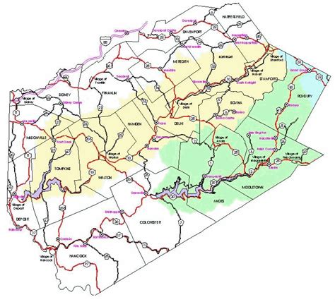 detailed map of delaware delaware county map