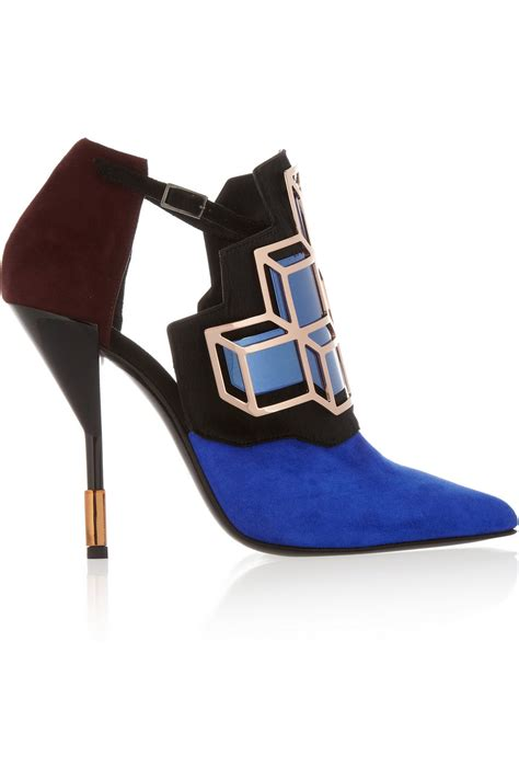 Fab Find Hardy Blue Cutout Sandals by Lyst Hardy Embellished Suede And Calf Hair Pumps