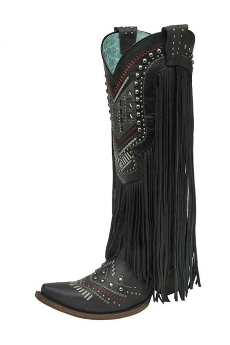 corral boots black fringe boots from by chili