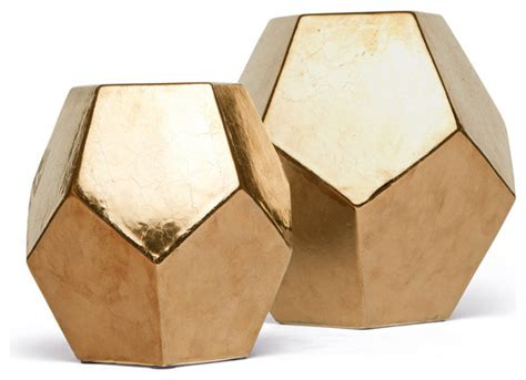 polyhedron objects gold set of 2 by plantation