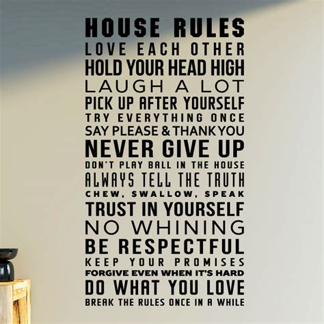 house rules design com sticker house rules design stickers citations anglais