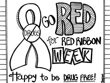 red ribbon week coloring sheet by koolkat s art bin tpt