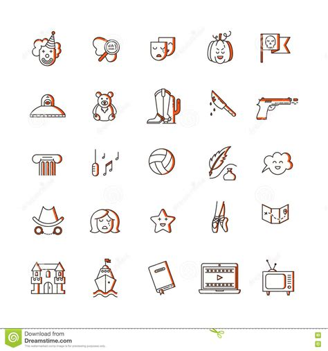 fantasy film genre elements film genre icon set stock vector image 78663344