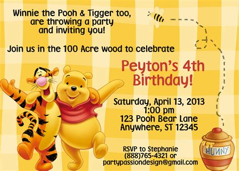 Winnie The Pooh Birthday Invitations Templates by Winnie The Pooh Birthday Invitations Templates Images