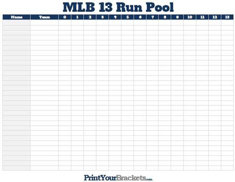 13 Run Pool Spreadsheet printable mlb world series squares 100 grid office pool