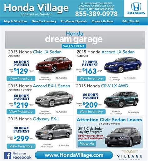 newton ma honda dealership honda village ma  car deals