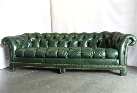 antique vtg forest green leather chesterfield sofa