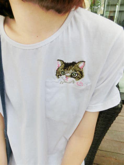 Blouse Cat White Los t shirt pls cats cat pocket pockets white shirt