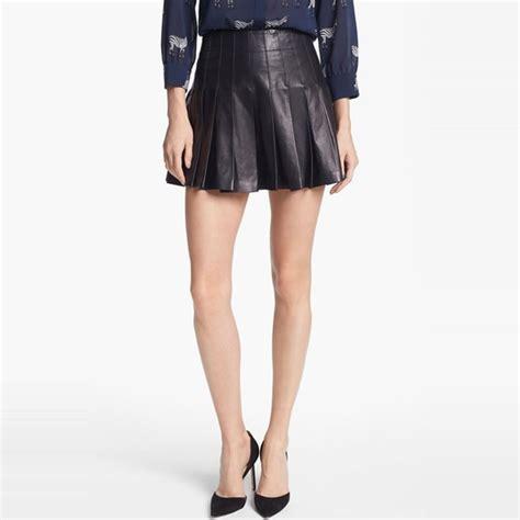 rank style mini skirt pleated leather
