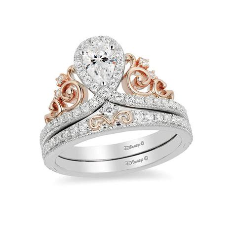 Enchanted Disney Princess 5/8 CT. T.W. Pear Shaped Diamond Frame Tiara Bridal Set in 14K Two