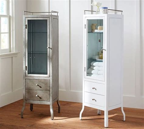 White And Rustic Steel Apothecary Floor Storage Apothecary Bathroom Cabinet