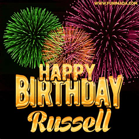 wishing   happy birthday russell  fireworks gif animated greeting card