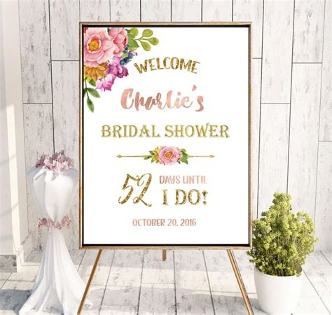 printable bridal shower signs countdown bridal shower welcome sign bridal brunch sign