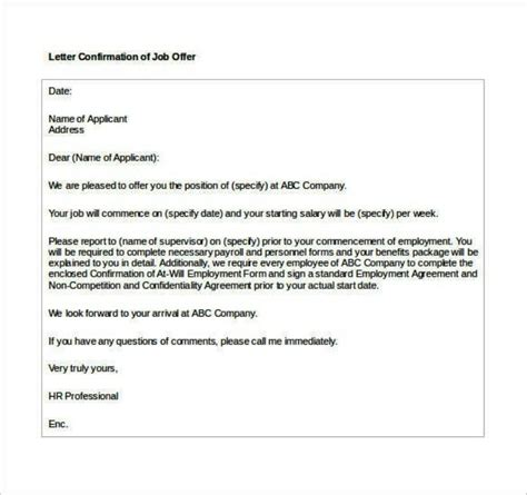 appointment letter format ms word basic confirmation offer letter format in ms word