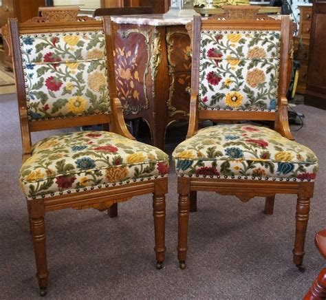 Eastlake Chairs by 2 Antique Carved Victorian Eastlake Walnut Parlor Chairs