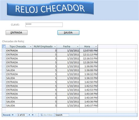 excel format yyyy ww access codigo vba registrar entrada y salida reloj checador