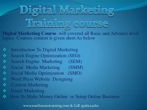 Courses On Marketing 1 by Digital Marketing Course Seo In