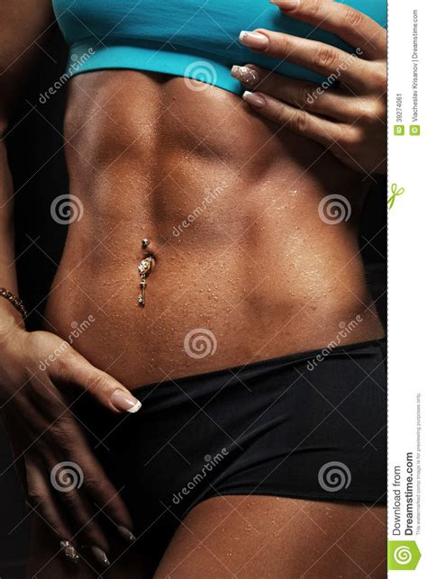 woman abdominal muscles stock photo image