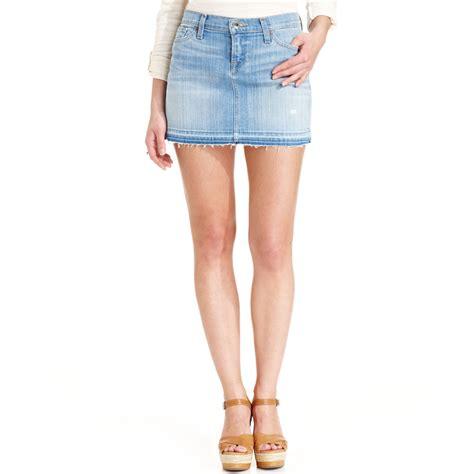 lucky brand denim mini skirt in blue lyst
